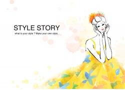 时尚女性插画PSD分层素材
