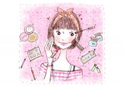 化妆美容的卡通女孩PSD分层素材
