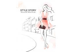 街道上的时尚购物女孩PSD分层素材