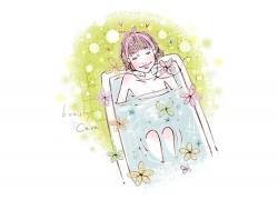 浴缸里的时尚女孩PSD分层素材