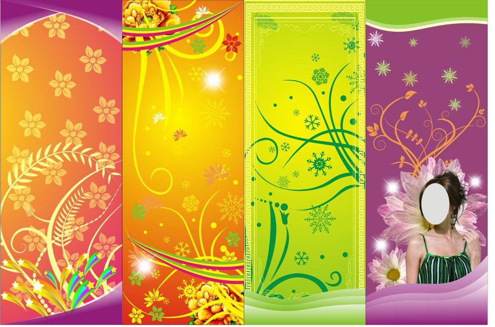 花纹x展架背景矢量素材图片