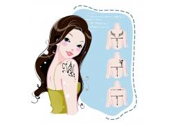 纹身美女矢量图