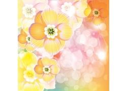 漂亮花朵梦幻背景矢量图