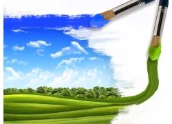 自然风景与画笔设计图片