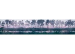山水风景画PSD分层素材