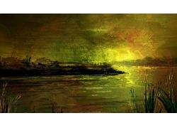 复古油画风景