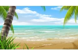美丽海滩风景PSD分层素材
