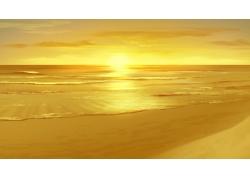 海边上的落日美景