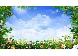 美丽花边与蓝天白云背景
