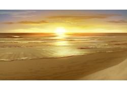 海面夕阳美景