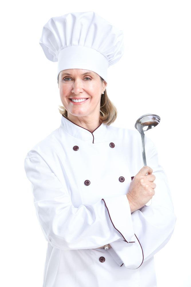 拿勺子的女厨师高清图片图片