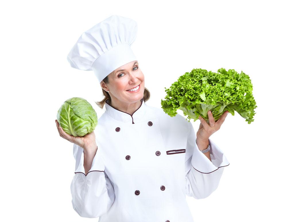 拿青菜的女厨师高清图片图片