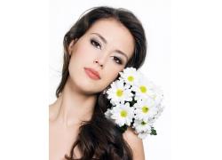 美女与花朵