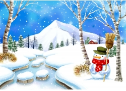 冬天风景韩国插画