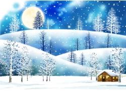 冬天风景插画