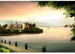 湖畔别墅房地产广告