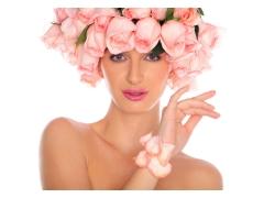 玫瑰花与性感美女