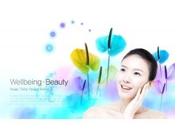 美容模特美女与鲜花