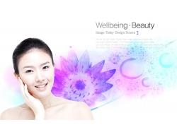 白皙女人与鲜花背景