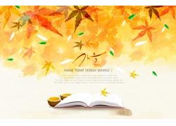 树叶背景与书本