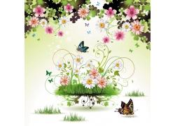 鲜花蝴蝶背景