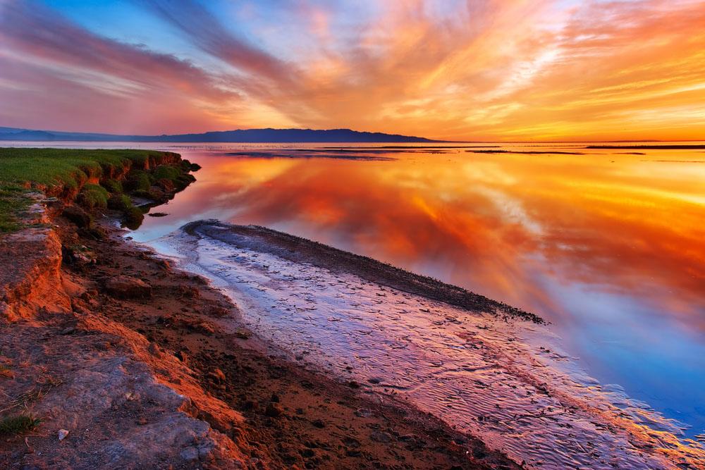 海边晚霞风景摄影图片