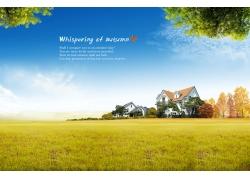 蓝天白云与草地