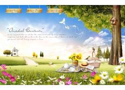 美丽蓝天白云草地风景