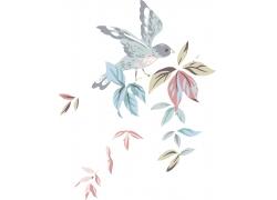 卡通小鸟与花朵
