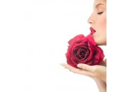 性感红唇美女与玫瑰花