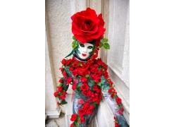 玫瑰花与彩绘模特美女