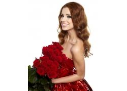 美女与玫瑰花