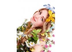美容美女模特与鲜花蝴蝶