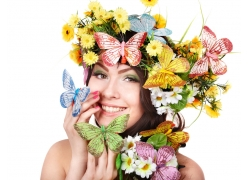 美容广告模特美女与鲜花蝴蝶
