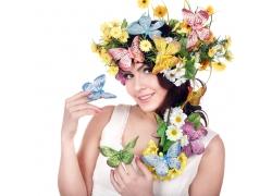 性感美女与鲜花蝴蝶