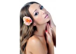 性感美女与玫瑰花