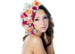 玫瑰花与性感女人