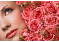 美女面部与玫瑰花