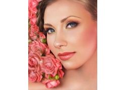 玫瑰花与美女脸部