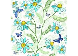 矢量鲜花蝴蝶背景