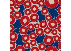 蓝色背景红色圆环图案