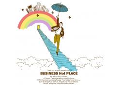天梯彩虹与商务男士