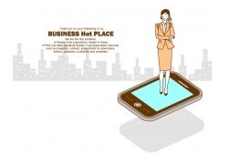 智能手机与卡通美女