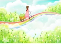 在彩虹桥骑自行车的小女孩