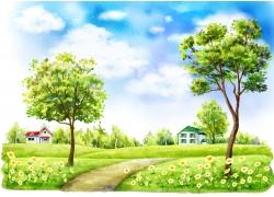 草地上的绿树和野草