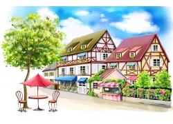 蓝天下卡通的房屋和大树