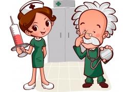 拿针筒的护士和听诊器的医生