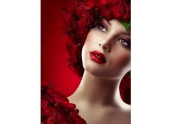 玫瑰花与红唇美女