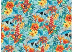 鲜花蝴蝶背景图案