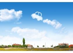 天空中的汽车白云